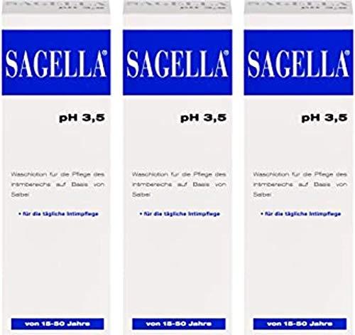 Sagella pH 3,5 Intimwaschlotion für Frauen zwischen 15 und 50 Jahre,für tägliche Anwendungen.Spar-Set 3x250 ml.