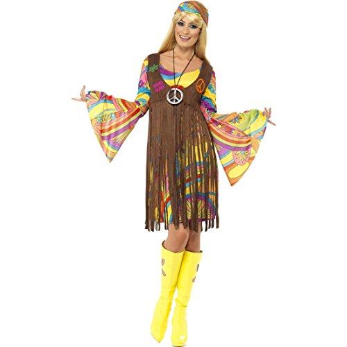 NET TOYS Buntes Hippie Outfit neon 70er Jahre Hippiekleid S 36/38 60er Jahre Kostüm Kleid mit Glockenärmeln Weste mit Fransen Stirnband 70s Look Blumenkind Peace and Love Karnevalskostüm Damen