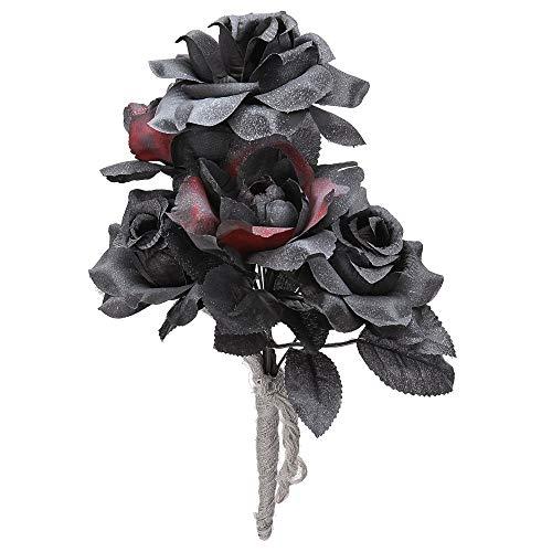 Widmann 3235 Halloween Brautstrauß mit Rosen, Damen, Schwarz, Einheitsgröße