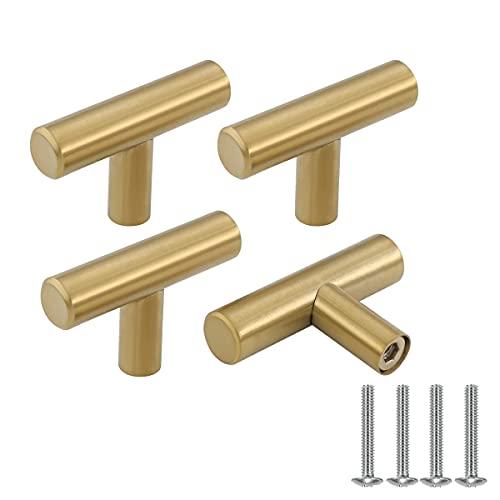 Drenky 4 piezas Dorado acero inoxidable Tirador para muebles manija de puerta tirador puerta corredera Cocina Armario Cajón Manija Tire del gabinete Manija con tornillos Un solo agujero