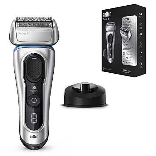 Braun Series 8 Afeitadora Eléctrica Hombre, Máquina de Afeitar Barba con Tecnología Sónica y Cabezal 3en1 Cabezal, Base de Carga, Funda, Recargable, Inalámbrica, 8350 S, Plata