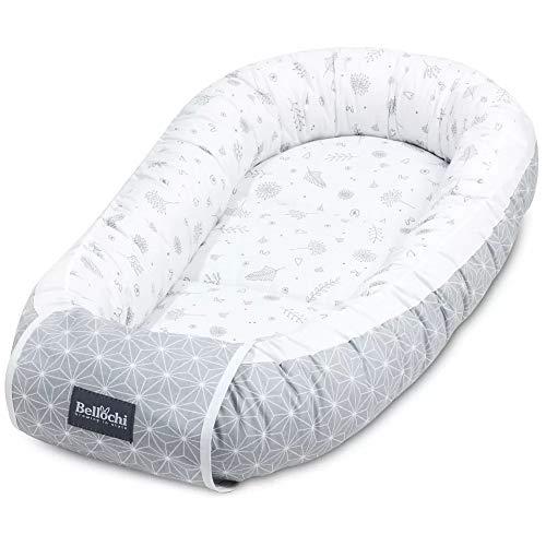 Bellochi Babynest Babynestchen Neugeborene - 100% Baumwolle - ÖKO-TEX Zertifiziert - Baby Kuschelnest - 90x60x12cm - Star Copse