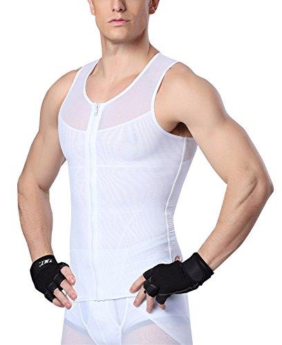 AIEOE - Camiseta de Hombre Reductora sin Manga con Cremallera para Fitness Deportes Faja Abdominal Pecho Plano - Blanco -XL