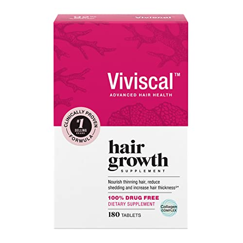 Viviscal Women's Hair Growth Supplements for Thicker, Fuller Hair | Clinically Proven with Proprietary Collagen Complex | 180 Tablets - 3 Month Supply