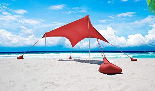 Otentik Parasol para Playa o al Aire Libre – Toldo – Refugio de Playa – Toldo de Vela – Toldo de Sol, Rojo