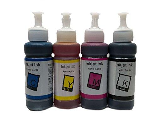 Bramacartuchos - 4 X Botellas de Tinta de 100ml Compatible con Cartuchos T6641, T6642, T6643, T6644 - para impresoras ET-2500, ET-2550, ET-4500, ET-14000