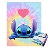 ZEVITO Lovely Lilo & Stitch Ultra-Soft 3D Printing Fleece Throw Blanket for Couch Sofa Or Bed Throw Size Super Cozy and Comfy for All Seasons