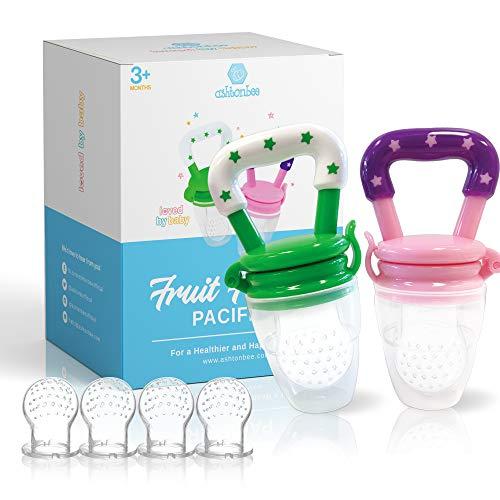 Ashtonbee Baby Fruit Feeder, Baby Food Feeder Pacifiers for Teething Relief, Teething Toys for Babies , 2 Pack