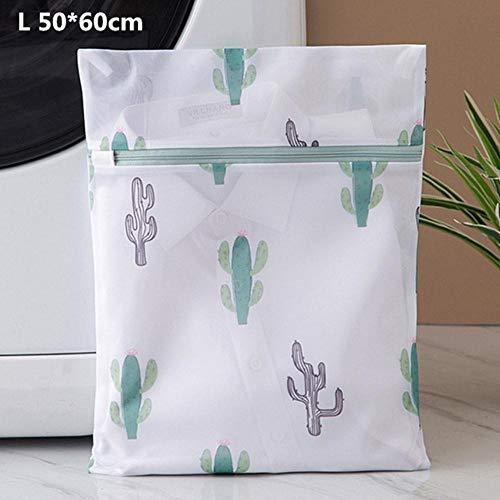 Finer Cactus Afdrukken Waszakken met Rits Huishouden Sokken Ondergoed Beha Waszak Hoge Kwaliteit Polyester Mesh Wasmanden, L 50-60cm
