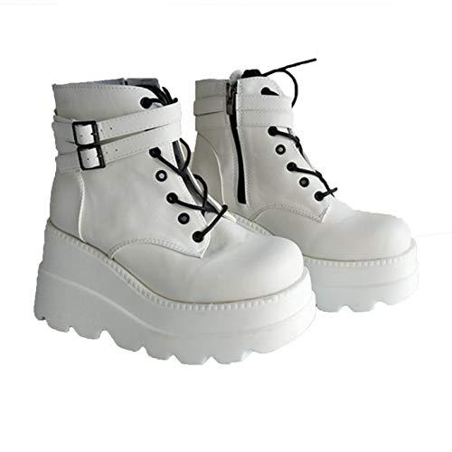 Damen High Platform Stiefel Mode Schnallenriemen Round Toe Wedge High Heels Frühling Herbst Schnürung Punk Goth Ankle Boots