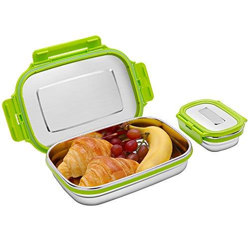 Edelstahl Brotdosen Set, Auslaufsichere Bento Lunch Box mit Kleine Snack Behälter für Kinder und Erwachsene, 2er Set Metall Lebensmittel Salat Container (950ml+180ml) (Grün 1)