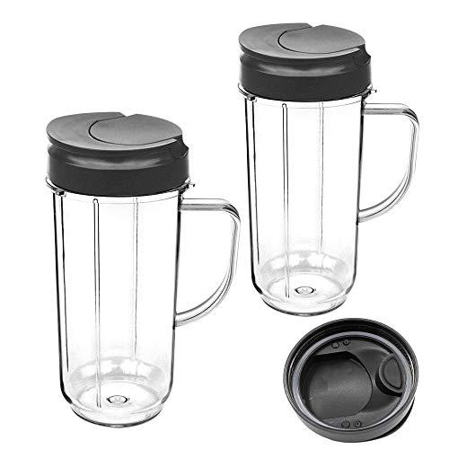 Vaso para licuadora, pieza de repuesto, tapas abatibles para llevar, vasos altos de 22 oz con asa para Magic Bullet 250w, tazas y tazas para llevar, exprimidor accesorios(2 psc)