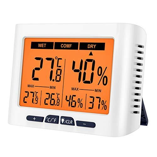 ORIA Digitales Thermometer Hygrometer, Innen Thermo-Hygrometer mit Hintergrundbeleuchtung und Kalibrierfunktion, 4,3 Zoll LCD-Bildschirm MIN/MAX-Anzeige, °C/°F-Schalter für Zuhause, Büro