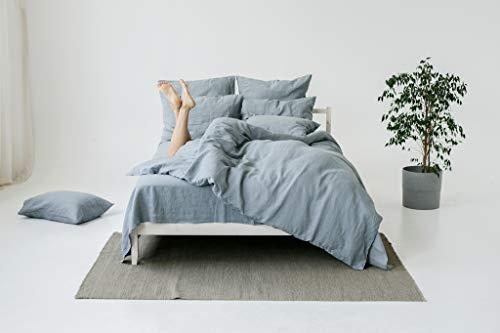 My Linen Home Set Copripiumino / Biancheria da Letto in Lino Lavato (100 % StoneWashed) Blu grigio,...