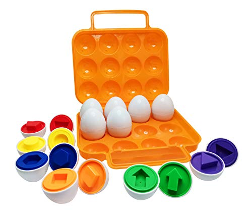Beakabao 12pcs Color and Shape Matching Egg Set Montessori Toddler Education Classification Toys for Fine Motor Skills of The Fingers Muscles, Preschool Children Smart Puzzles Easter Gifts (Orange)