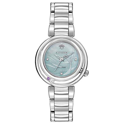 Citizen Eco-Drive Disney Reloj de cuarzo para mujer, acero inoxidable, Ariel, tono plateado (Modelo: EM0820-56N)