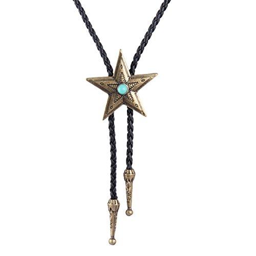 MULBA Bolo Tie Cowboy Krawatten Leder Halsband Halskette Vintage Türkis Anhänger für Frauen, Männer (Bronze)