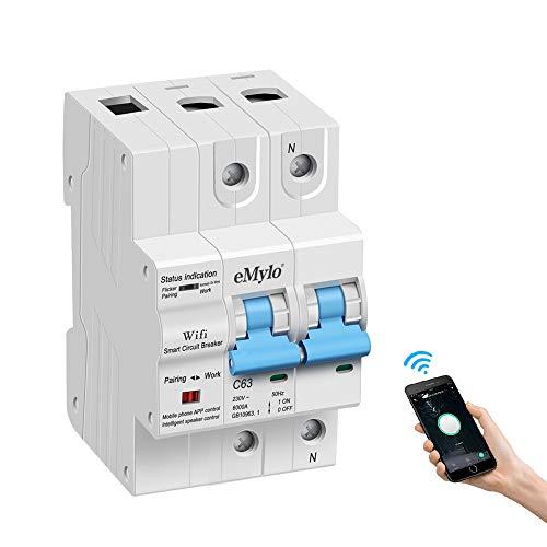 eMylo Smart WiFi Leistungsschalter 2P 63A 220-240V Miniaturschalter Schalter Automatische Wiedereinschaltung Überlastschutz Drahtlose Fernbedienung Zeitverzögerung Funktionsunterstützung Alexa/Echo
