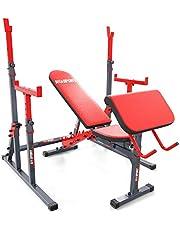 K-Sport Juego de entrenamiento: banco de pesas&curl + barra de pesas con protección I Banco deportivo para entrenamiento de pesas cortas y largas I dispositivos profesionales de fitness para el hogar