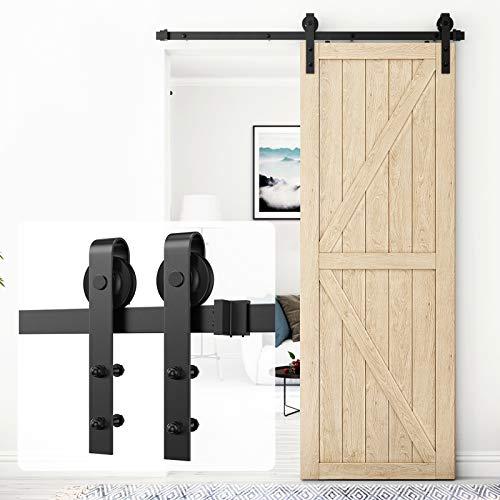 Homlux 5ft Heavy Duty Sturdy Sliding Barn Door Hardware Kit Single Door - Smoothly and Quietly - Simple and Easy to Install - Fit 1 3/8-1 3/4' Thickness Door Panel(Black)(J Shape Hangers)