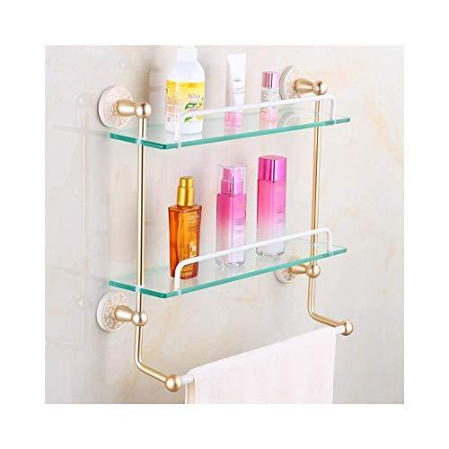 MLOZS Estante de baño de 2 niveles ajustable de ducha estante de almacenamiento rectangular para cuarto de ducha con toallero de baño partición toallero toallero