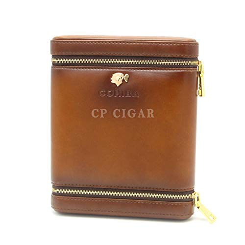 POMU Gadgets Tragbarer Zigarren-Humidor, Zedernholz, Leder, Zigarrenetui mit integriertem Luftbefeuchter Cohiba Z