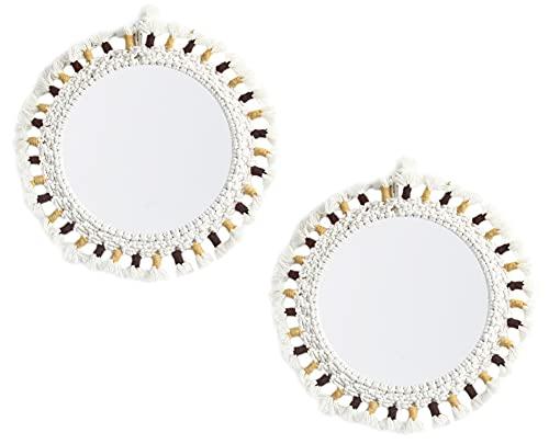 Icegrey Specchio da Parete Sospeso con Bordo in Cotone Specchio da Parete Decorativo Rotondo Piccolo...