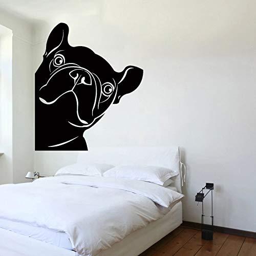 JXMN Calcomanía de Perro Mascota Bulldog francés Vinilo Pegatina de Pared Tienda de Mascotas Mural de Ventana Lindo Dormitorio decoración extraíble Muebles para el hogar 56x66cm