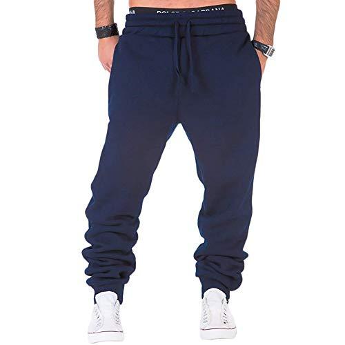 Men's Sweatsuits Tracksuit 2pcs Set Patchwork Sweatshirt Solid Jogger Sweatpants Winter Warm Sports Suit Activewear (Navy, 2XL)