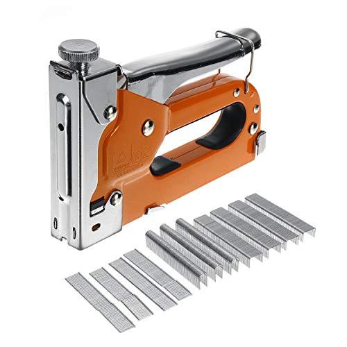 Otras herramientas Grapadora de mano con 600 clavos, tipo puerta, clavo en U, clavo en T, máquina manual de clavo (color: ordinario + 600 clavos)