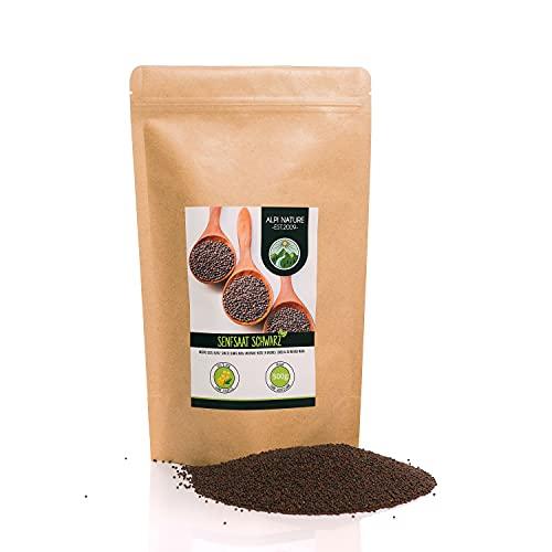 Semi di senape (500g), semi di senape neri e marroni 100% naturali, essiccati delicatamente, semi di senape naturalmente senza additivi, vegani