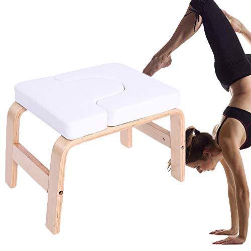 PXDE Yoga Kopfstandhocker, Safe Yoga Kopfstandstuhl,Yoga Hilft Trainingsstuhl Multifunktionale Invertierte Sportübungsbank Fitnessgeräte Für Family Gym Entlasten Sie Müdigkeit,Weiß