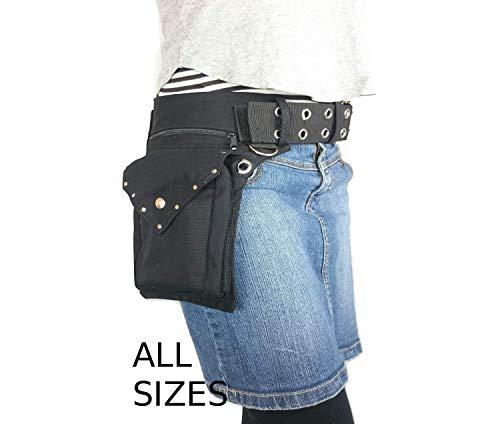 Schwarze Gürteltasche, Hüfttasche von Hipsypixie in alle Größe, aus bio baumwolle canvas, verschlie߭bar mit einer Metallschnalle