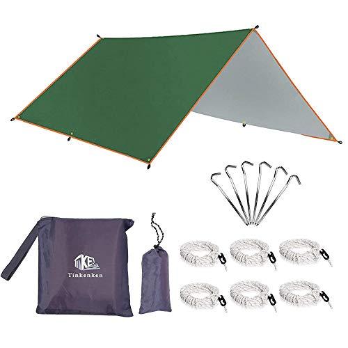 Tent Tarps Toldos para Tienda de campaña, Hamaca, Cubierta para la Lluvia, con 6 piquetas de Aluminio y 6 líneas para mochileros, protección UV, Refugio Impermeable (Verde)