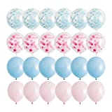 Gender Reveal Party Supplies- These gender reveal party balloons are a great addition to any party! Baby Girl or Baby Boy- Pink and blue solid and confetti balloons are perfect for any baby reveal! 6 light pink and 6 light blue confetti balloons- Lar...