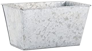 Weddingstar Galvanized Tin Rectangular Planter, Large, Gray