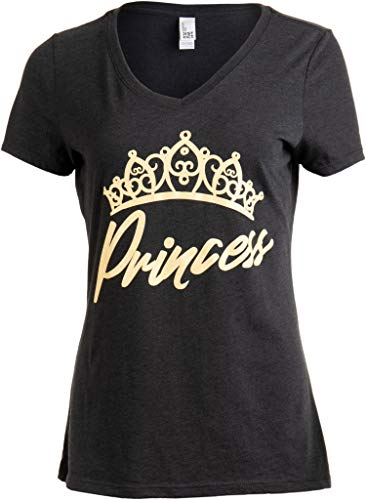 Princess | Cute, Funny Girly Royalty Tiara Crown Humor V-Neck T-Shirt for Women-(Vneck,XL)
