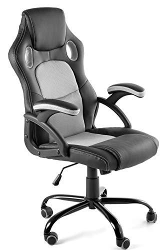 Home Heavenly®- Silla X-Gamer, de Oficina, sillón Gaming ergonómico, diseño de Oficina y despacho, Escritorio, con Ruedas (Gris)