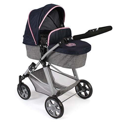 Bayer Chic 2000 568 26 Kombi-Puppenwagen Nele, 2-in-1 für Baby-Puppen bis 50 cm, Melange grau-Navy