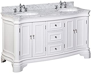 Katherine 60-inch Double Vanity (Carrara/White): Includes White Cabinet with Authentic Italian Carrara Marble Countertop and White Ceramic Sinks