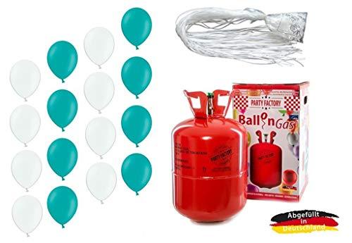 Adams Gas, Belbal, Ballonservice Set: Helium Ballongas + je 25 türkis/weiße Ballons + 50 Fäden/Schnellverschlüsse