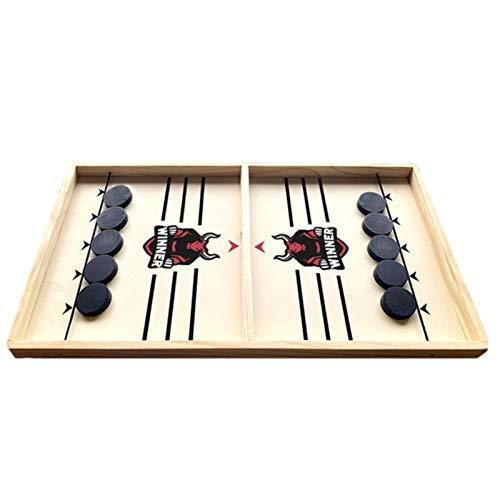 CHUWUJU Wooden Hockey Game, Fast Sling Puck Game, Football Winner Board Game, Table Desktop Slingshot Games Toy for Kids & Adults 55x30cm