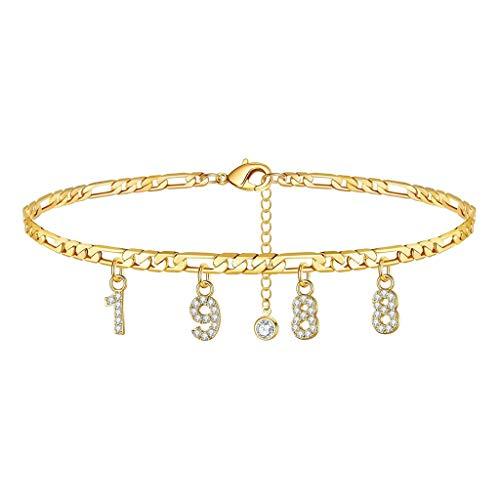 Geburtsjahr Frauen Fußkettchen gefüllt mit personalisierten Fußkettchen Beach Feet Jewelry - Custom Layered Year Armbänder mit Verstellbarer Gliederkette zum Weihnachtsgeburtstag (Gold, 1988 Jahr)