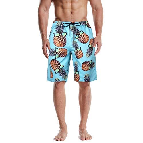 SUccess Bañador de verano para hombre, impresión 3D, secado rápido, diseño hawaiano, surf, tabla, natación, deporte, playa, tiempo libre, pantalones cortos azul XXL
