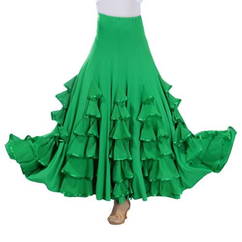 Tookang Flamenco Falda Grande del Columpio Vestido de Baile Moderno Tutu con Lentejuelas de Malla Baile de Salón