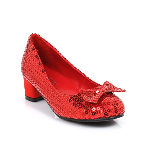 Ellie Shoes 1' Heel Sequined Slipper Shoe Children's. M RED
