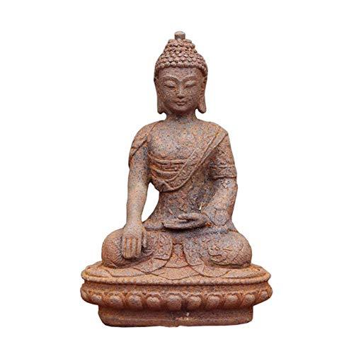 Ybzx Escultura Decorativa de Buda, Modelo de Estatua de Sakyamuni, artesanía de Metal, Arte de Hierro Antiguo, Muebles para el hogar al Aire Libre, colección de devotos budistas, Regalo