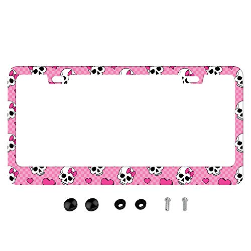 DZGlobal Pink License Plate Frame Cute Skull Lisences Plates Holder Dead Skulls Car Tag Frames 2 Holes with Screw Personalized Front Auto Decorative for Girl Womens (Pink Skull)