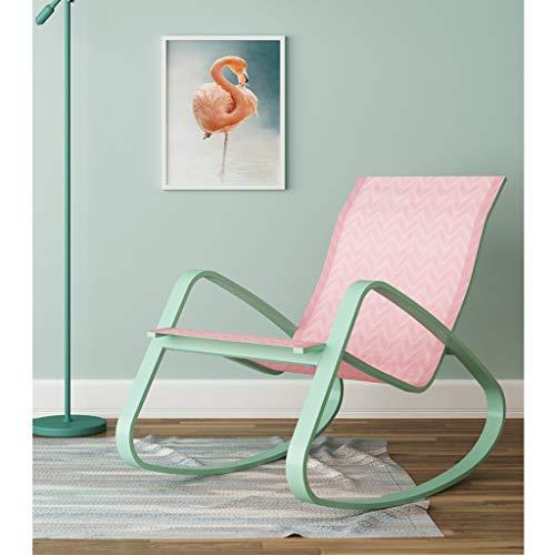 ZHEN GUO Minimalist Patio Chair Gartenstühle, Metall Schaukelstuhl Glider Rocker für Schlafzimmer, Pool Lounge Chairs, Recliner Stuhl für Wohnzimmer, Orbital Lounger für Erwachsene (Color : Pink)