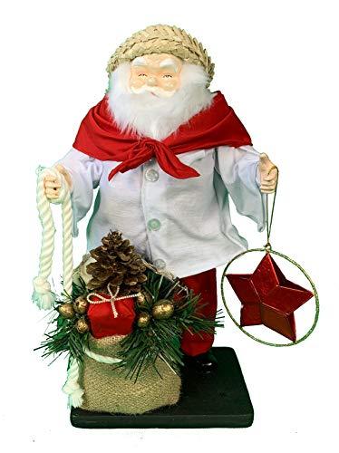 Santa Figure Collection 14', Handcrafted Standing Santa Claus in Camisa Handwoven Philippine Buri with Filipino Parol Star Lantern Ornament to Light Burlap Gift Sack